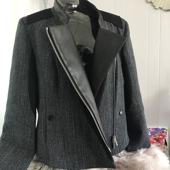 7d3806ad4 Karen Millen Gray Black Moto Faux Leather